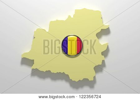 Silhouette Of Andorra Map With Andorra Flag On Button