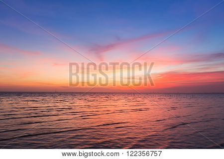 Beautiful sky after sunset over seacoast, natural background
