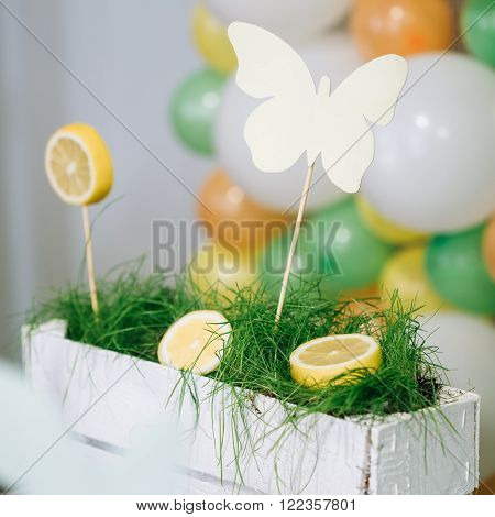 Decorated Table on Wedding or Birthday Holiday. Lemon and Grass.