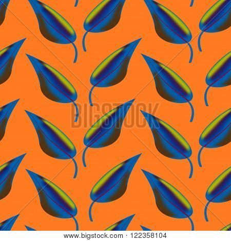 Pattern with iridescent  blue leaves. Pattern with fantastic leaves. Bright pattern for a different design. Vector seamless