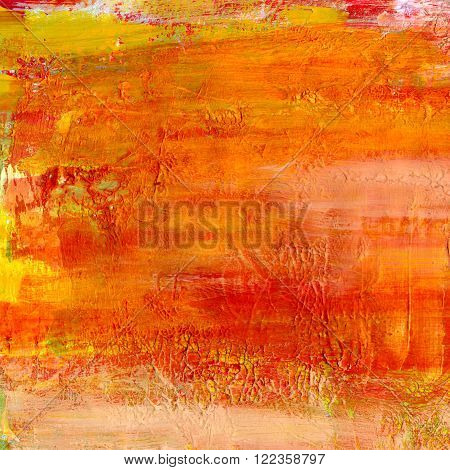 Abstract artistic vibrant golden and red mixed media (acrylic and watercolor) background texture with brush strokes
