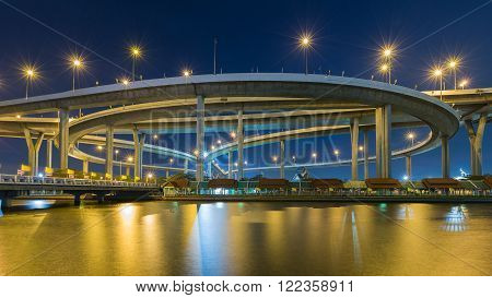 Industrial Ring road overpass waterfront at twilight, Bangkok Thailand