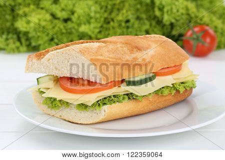 Sub Sandwich Baguette On Plate With Cheese For Breakfast