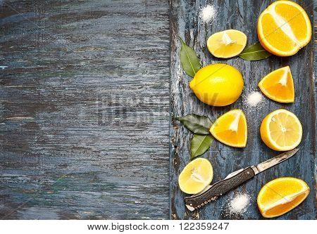 Sliced lemons and oranges.