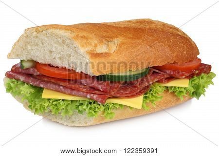 Sub Sandwich Baguette With Salami Ham For Breakfast Isolated