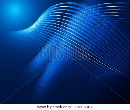 abstract dark blue background with curved lines in perspective