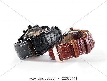 elgant watch leather strapes on the white