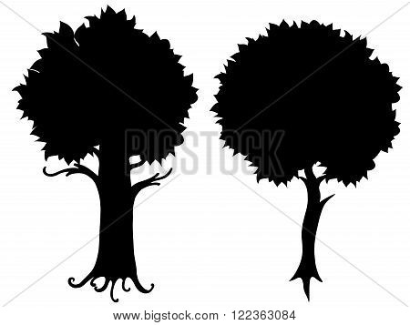 Set of tree silhouette vector illustration. Isolated on white