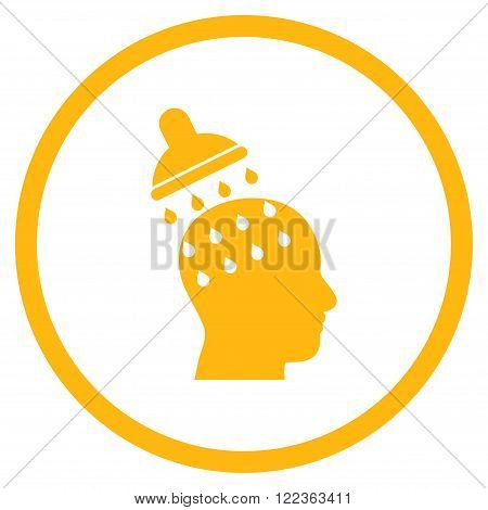 Brain Washing vector icon. Image style is a flat icon symbol inside a circle, yellow color, white background.