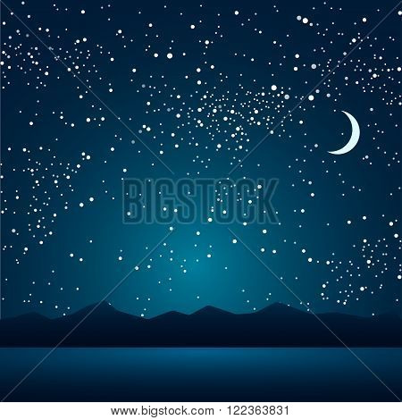 Night lake and mountains in the background of the sky.