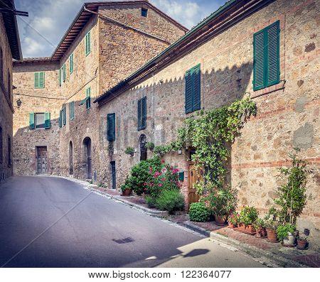 Beautiful Street Of Montepulciano, Tuscany