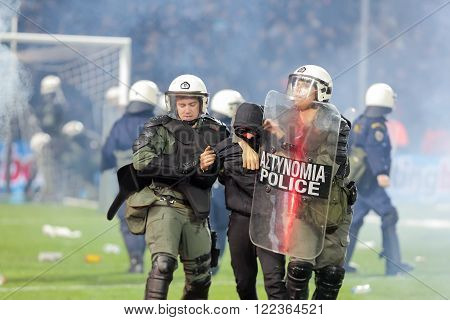 Paok Fans Getting Arrested After Clashing With Riot Police During The Semifinal Greek Cup