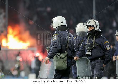 Paok Fans Clash With Riot Police During The Semifinal Greek Cup Game Between Paok And Olympiacos Pla
