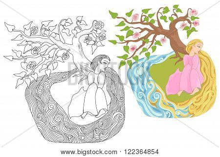 Dreamy girl with long hair on the river bank. Fairy story for stickers posters and illustrations of coloring books.