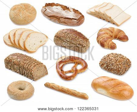 Collection Of Bread Breads Bagel Roll Toast Baguette Pretzel Isolated