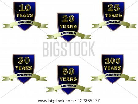 Set of anniversary badges for 10th, 20th, 25th, 30th, 50th and 100th anniversaries