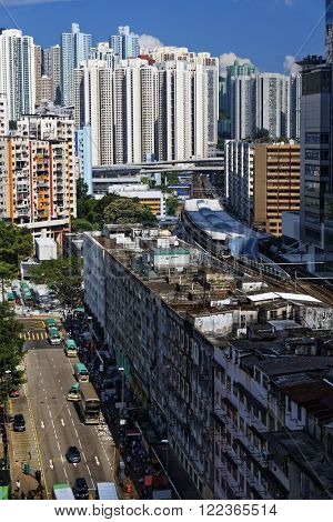 kwun tong distract at day, hong kong downtown area