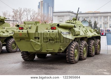 SAMARA RUSSIA - NOVEMBER 7 2015: Russian Army BTR-80 wheeled armoured vehicle personnel carrier at the central square