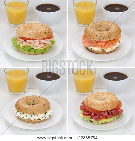 Collection Of Bagels For Breakfast With Ham, Salmon, Orange Juice And Coffee