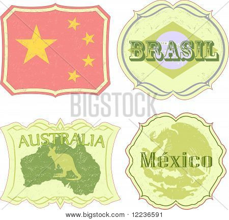 Vintage labels of China, Brazil, Australia and Mexico.