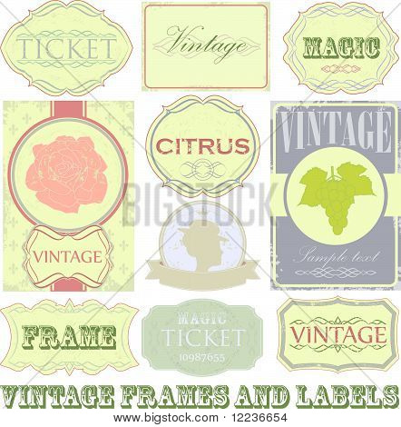 Detailed vintage label set
