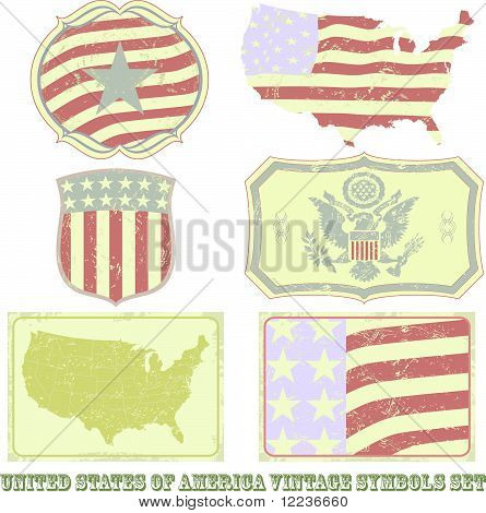 United States of America vintage symbol set