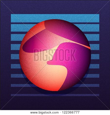 Illustration of dune and sci-fi sphere. VHS style cove. Vector EPS10.