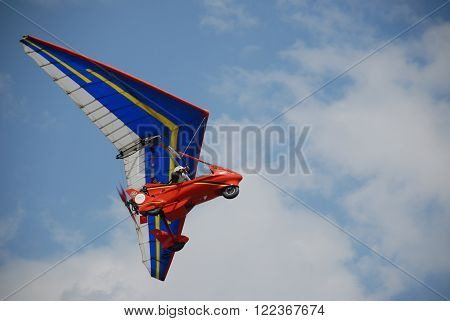 ANKARA/TURKEY-MAY 6:Ultralight aircraft on the sky during the Turkish Air Association-THK's air fest at Etimesgut Airport. May 6, 2012-Ankara/Turkey