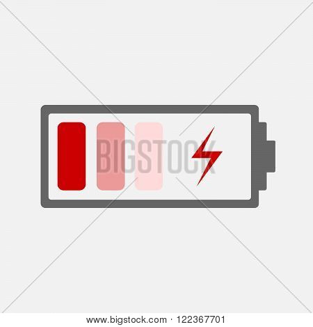 Battery charging Icon - vector illustration. Red battery icon with a bad charge.