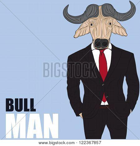Praying bull. Funny vector illustration. Cartoon character bull