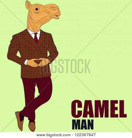 Praying camel. Funny vector illustration. Cartoon character camel