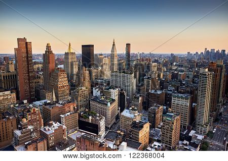 Evening view from a high building of Midtown New York City