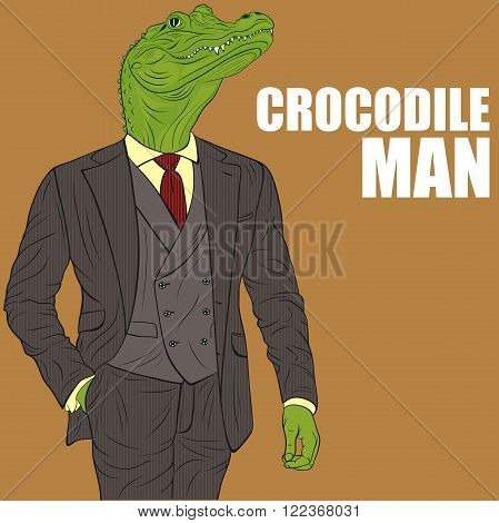 Praying crocodile. Funny vector illustration. Cartoon character crocodile