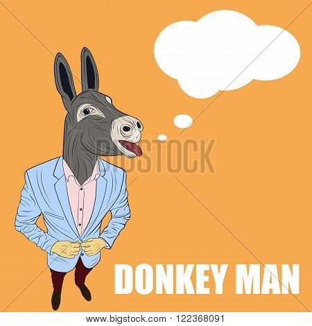Praying donkey. Funny vector illustration. Cartoon character donkey