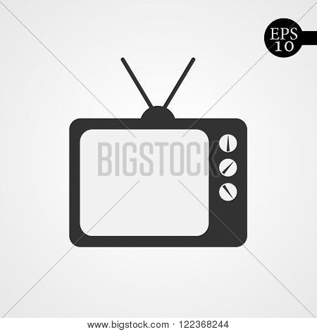 Black TV icon. Sign of TV - vector illustration. Flat icon of tv.