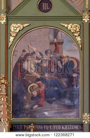 STITAR, CROATIA - NOVEMBER 24: 3rd Stations of the Cross, Jesus falls the first time, church of Saint Matthew in Stitar, Croatia on November 24, 2015