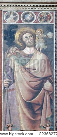 BOLOGNA, ITALY - JUNE 04: Saint Christopher, fresco painting in San Petronio Basilica in Bologna, Italy, on June 04, 2015.