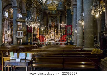 Menton, France - May 21: This is interior ancient Basilica of St. Michael the Archangel May 21, 2015 in Menton, France.