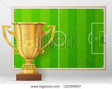 Golden trophy cup against soccer pitch. Sport award and association football field. Qualitative vector illustration about soccer reward sport victory football championship winning etc. It has transparency blending modes mesh mask blend