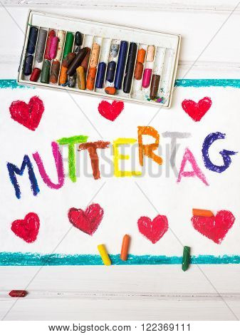 Colorful drawnig - German Mother's Day card with words 'Mother's day'