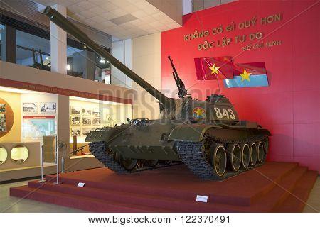 HANOI, VIETNAM - JANUARY 09, 2016: Soviet tank T-54B in the city of Hanoi. Party Vietnam war. The landmark of Hanoi