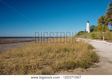 Coastline and the historic lighthouse at the tip of the St. Marks River in St. Marks Florida