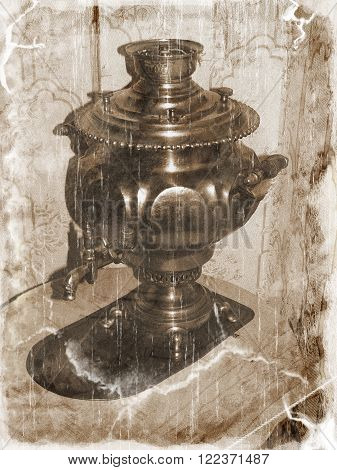 Antique samovar (as a retro image, vintage style)