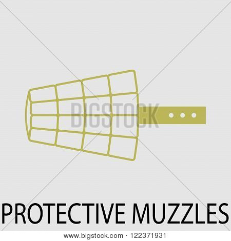 Protection muzzle animal dog. Protection snout equipment protetion mouth. Vector abstract flat design illustration