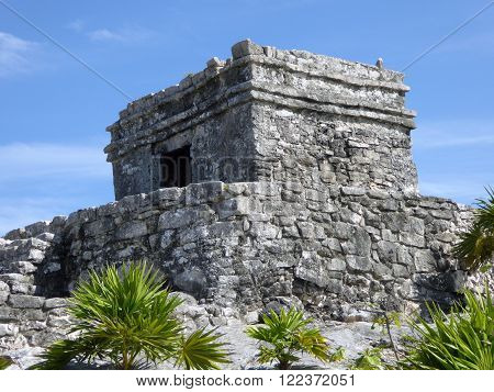 A close-up of a Mayan temple in the archeological site of Tulum Yucatán Peninsula Mexico.