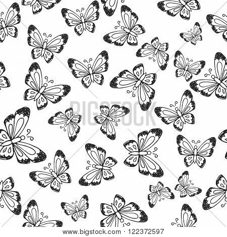 Seamless pattern with hand-drawn insects. Black and white monochrome insect butterfly texture. Butterfly vector pattern ornament.