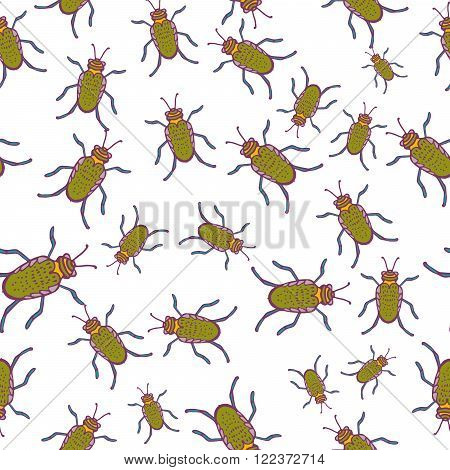 Seamless pattern with hand-drawn insects. Black, yellow on white beetles insect texture. Beetle bug vector pattern ornament.