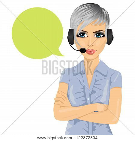 Portrait of confident female customer support phone operator with arms folded and speech bubble