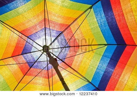 colorful sunshade on clear blue sky