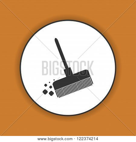 Broom vector icon Flat design style eps 10
